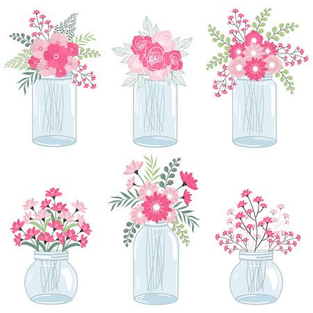 Bruiloft roze bloemen in metselaarkruiken
