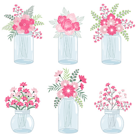 Wedding pink flowers in mason jars