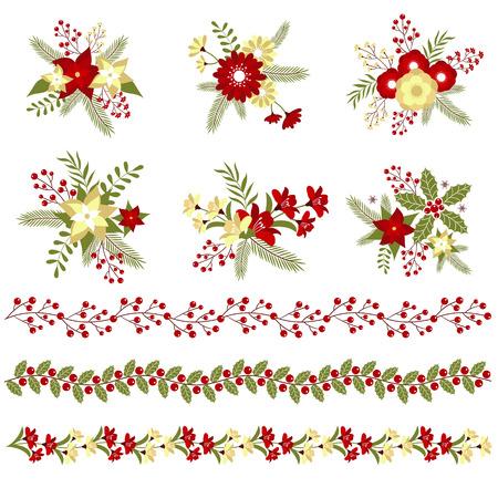 flor de pascua: Ramos de flores de Navidad y fronteras Vectores