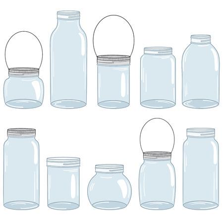 pote: Dibujado a mano albañil conjunto frasco Vectores
