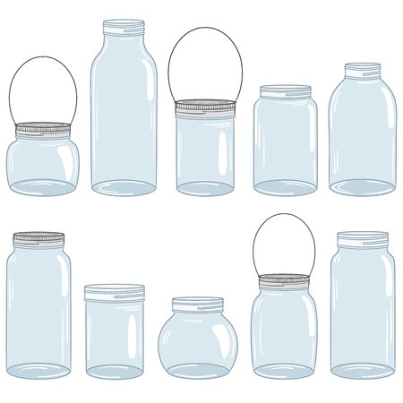 jar: Hand drawn mason jar set