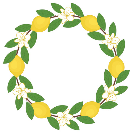 citrus tree: Vector wreath with lemons, leaves and flowers