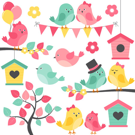 birds in a tree: Vector summer birds with tree, branches and birdhouse Illustration