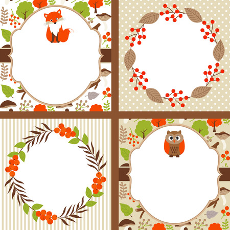woodland: Set of 4 vector woodland cards with owl, fox and wreath Illustration