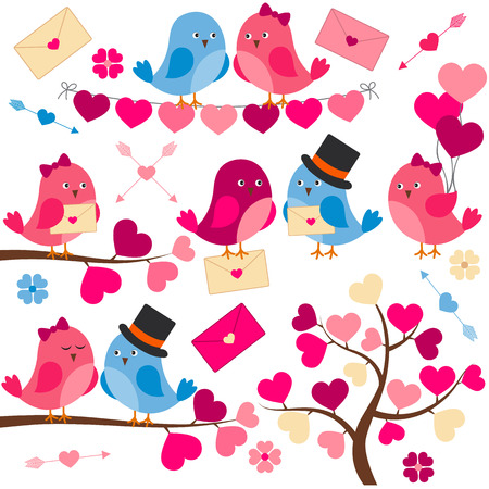 love tree: Vector love birds with hearts, tree, branches and balloons