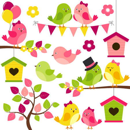 love tree: Vector summer set with birds, branches, leaves, birdhouse and tree