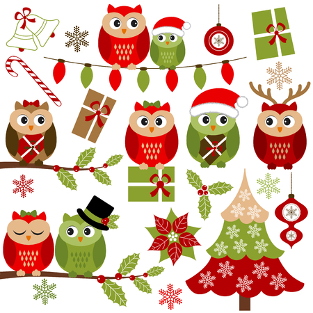 Vector Christmas owls set with holly branches, Christmas tree and gifts Vectores