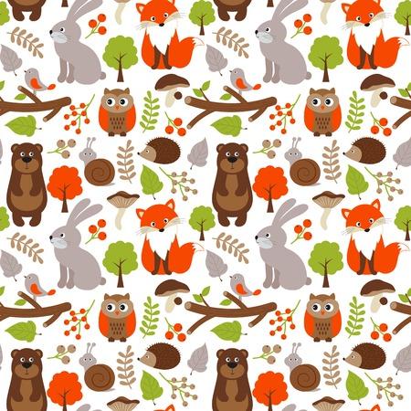Vector bos naadloos patroon met vos, beer, konijn en uil