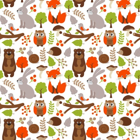 Vector woodland seamless pattern with fox, bear, rabbit and owl