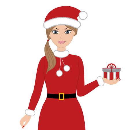 red dress: Vector Christmas woman in red dress with gift