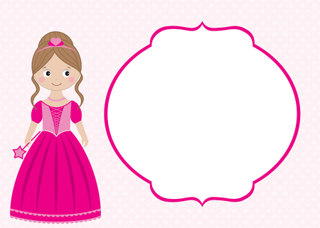 Vector Pink Princess Card Template With The Frame Royalty Free ...