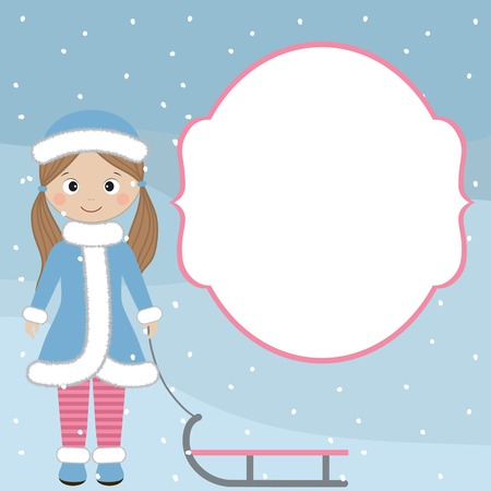 winter girl: Winter girl card with sledge and snow