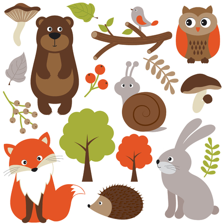 woodland: Vector woodland animals with leaves, trees and branches