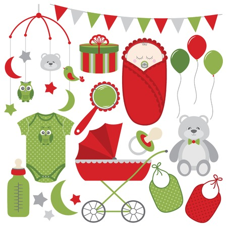 Red and green Christmas baby vector set Vektorové ilustrace