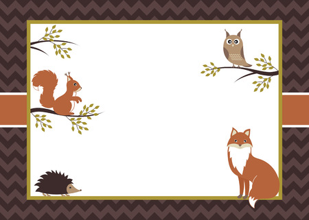 Vector woodland card with fox, squirrel, owl and hedgehog