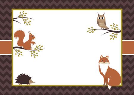 Vector boskaart met vos, eekhoorn, uil en egel