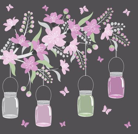 Vector bloemen purpere tak met bloemen, bladeren en kruiken