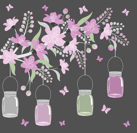 Vector floral purple branch with flowers, leaves and jars Illustration