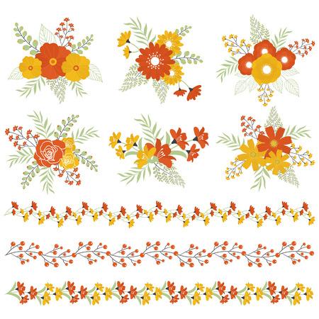 Vector autumn automne bouquets et bordures florales Vecteurs