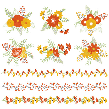 Vector autumn fall floral bouquets and borders Vector Illustration