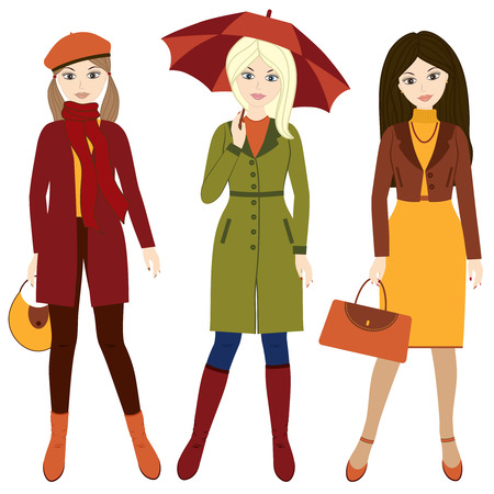 Set of 3 vector autumn girls in green, red and yellow clothes Illustration