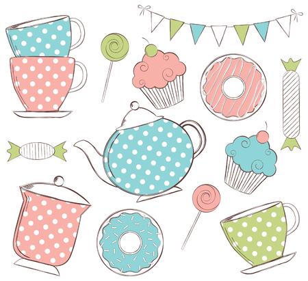 Vector doodle hand drawn turquoise and pink tea time set Ilustração Vetorial