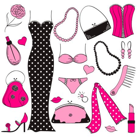 pink and black: Vector ladies pink and black fashion set