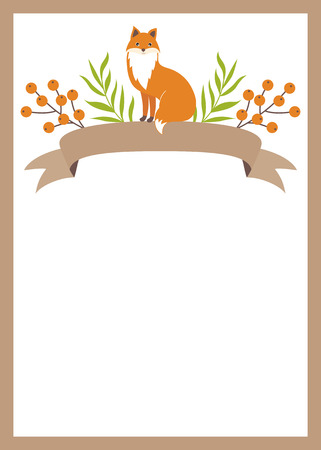 woodland: Vector woodland card with ribbons, fox and berries
