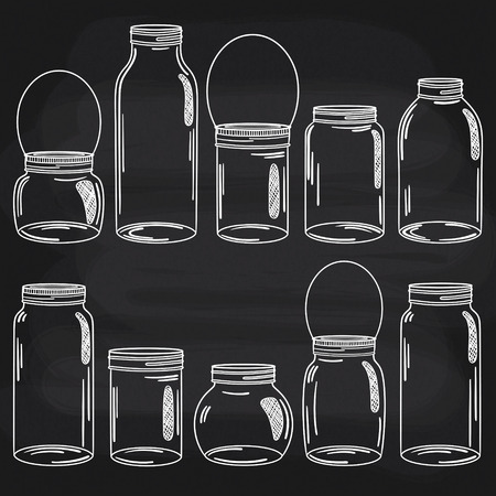 Vector hand drawn doodle glass jars on chalkboard background