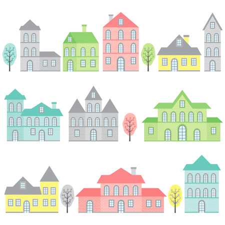 brick house: Vector pink, yellow, blue and green houses set