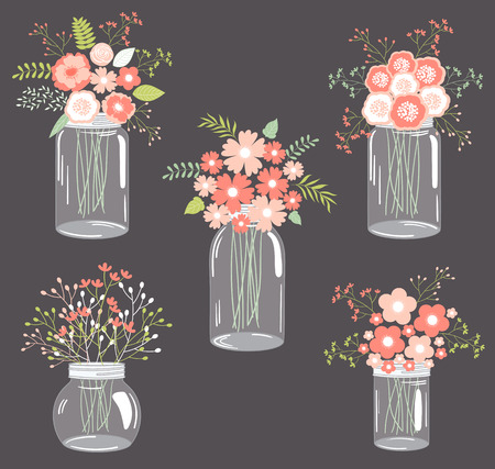mason: Vector pastel pink floral bouquets in mason jars Illustration