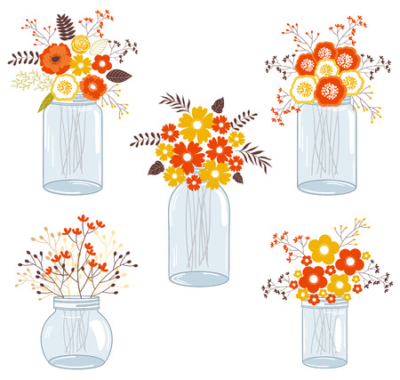 Vector fall autumn flowers in glass jars Illustration