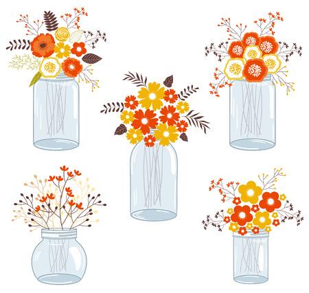 autumn flowers: Vector fall autumn flowers in glass jars Illustration