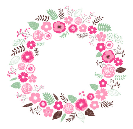 illsutration: Vector pink wreath with flowers and leaves
