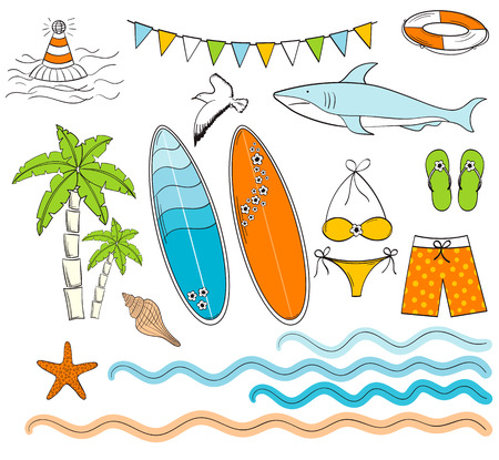 Vector hand drawn colorful surfing beach set