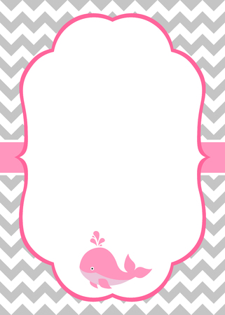 Vector baby girl invitation card with baby whale and chevron background Фото со стока - 61758227