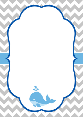 Vector baby boy invitation card with baby whale and chevron background Vectores