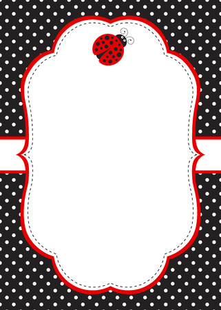 Vector ladybug invitation template with polka dot background Vectores