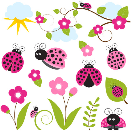 Vector ladybug set with flowers and leaves royalty free cliparts vector ladybug set with flowers and leaves vector stopboris Images