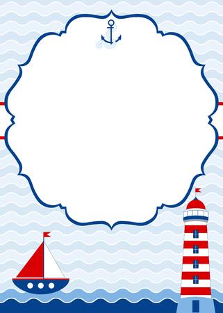 Vector de la tarjeta náutica con el barco y el faro