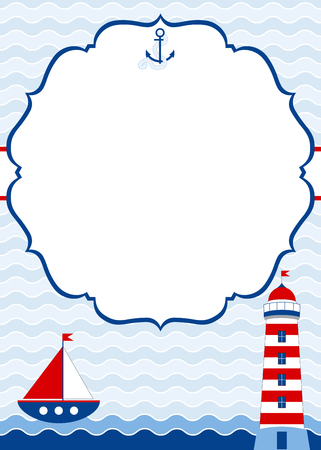 Vector nautical card with boat and lighthouse