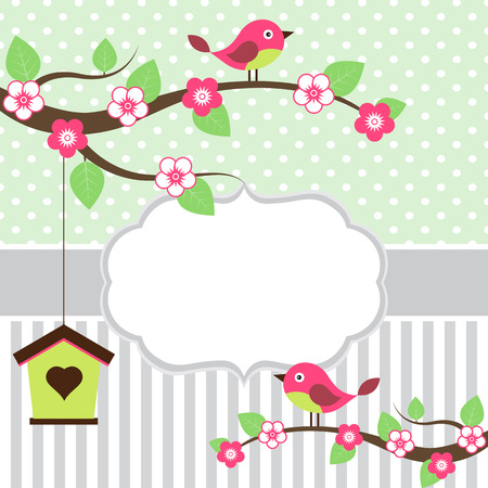 Birds on branches card template with white frame for your text
