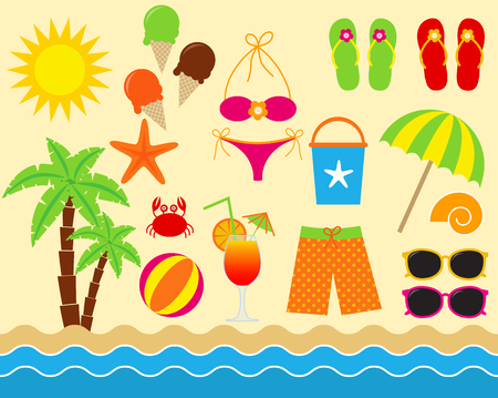 Vector colorful sea vacation beach elements set