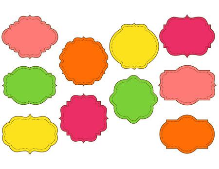 stitched: Vector colorful ornate stitched ten frames set Illustration