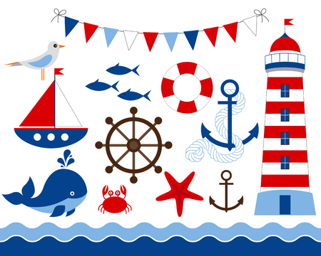 Vector blue and red cartoon nautical set