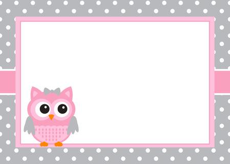 Elementos para el diseño de tarjeta de invitación del búho de la niña