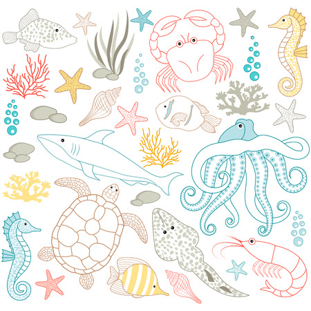 Vector colorful under the sea elements set