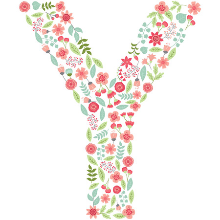 Vector floral letter Y. The capital letter Y is made of floral elements - pastel flowers, petals and leaves. Vector floral abc. English floral alphabet. Font vector illustration.