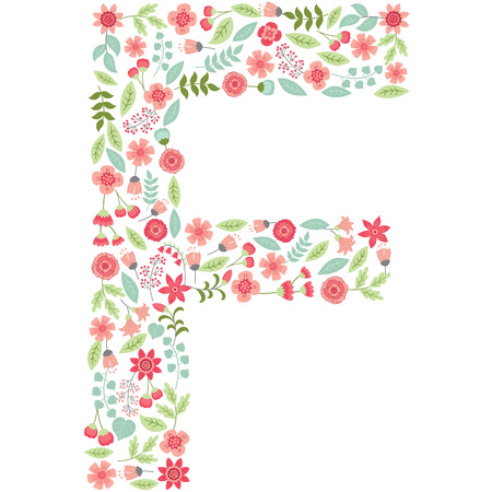 Vector floral letter F. The capital letter F is made of floral elements - pastel flowers, petals and leaves. Vector floral abc. English floral alphabet. Font vector illustration.