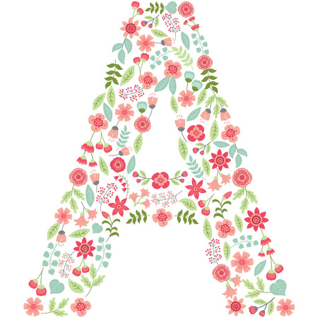 Vector floral letter A. The capital letter A is made of floral elements - pastel flowers, petals and leaves. Vector floral abc. English floral alphabet. Font vector illustration. Vectores